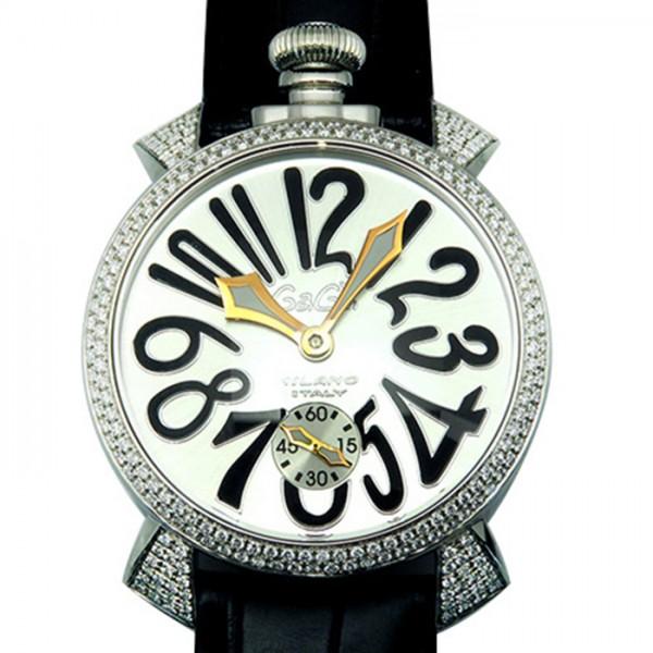 【期間限定ポイント5倍 5/5~5/31】 ガガミラノ GAGA MILANO マヌアーレ 48mm ダイヤモデル 5010.1D シルバー文字盤 メンズ 腕時計 【新古品】