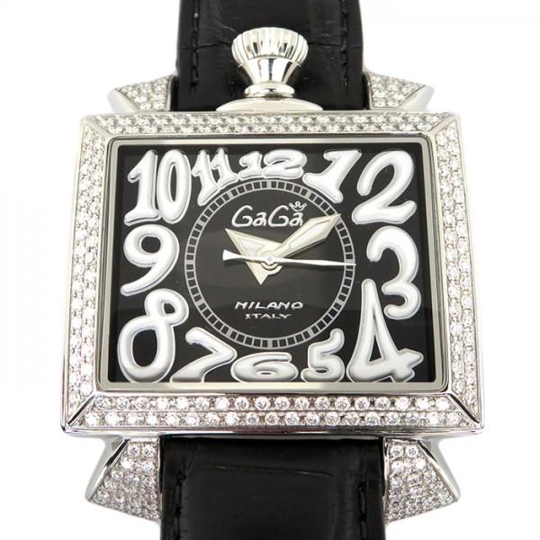 ガガミラノ GAGA MILANO ナポレオーネ ベゼルダイヤ 6000.2D ブラック文字盤 メンズ 腕時計 【新品】