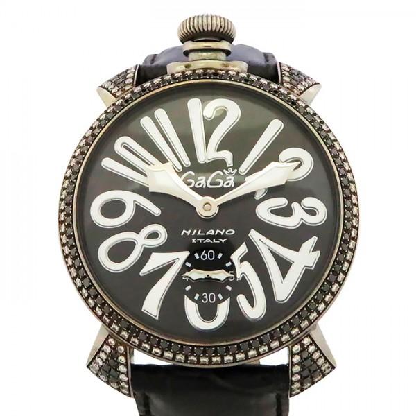 【全品 ポイント10倍 4/9~4/16】ガガミラノ GAGA MILANO マヌアーレ 48mm ベゼルダイヤ 5012.1D.6 ブラック文字盤 メンズ 腕時計 【中古】