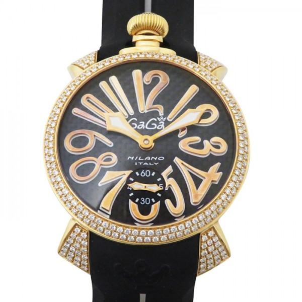 ガガミラノ GAGA MILANO マヌアーレ 48mm ベゼルダイヤ G199.GOLD ブラック文字盤 メンズ 腕時計 【中古】