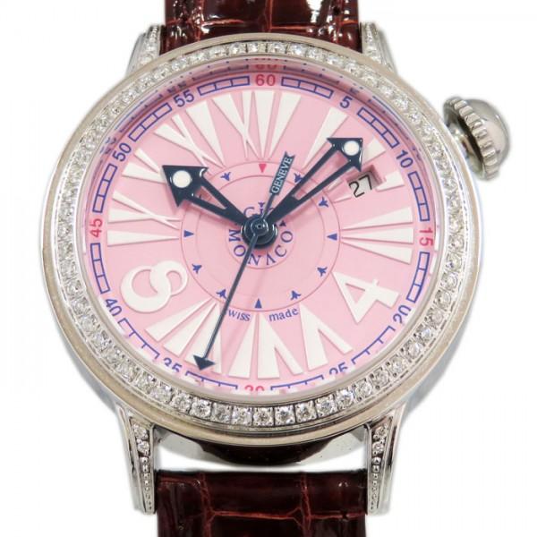 ジオ・モナコ GIO MONACO ワンオーワン ベゼルダイヤ 402A ピンク文字盤 メンズ 腕時計 【新品】