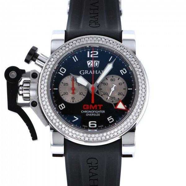 【全品 ポイント10倍 4/9~4/16】グラハム GRAHAM その他 クロノファイター オーバーサイズGMT ビッグデイト OX-20VGS ブラック文字盤 メンズ 腕時計 【中古】