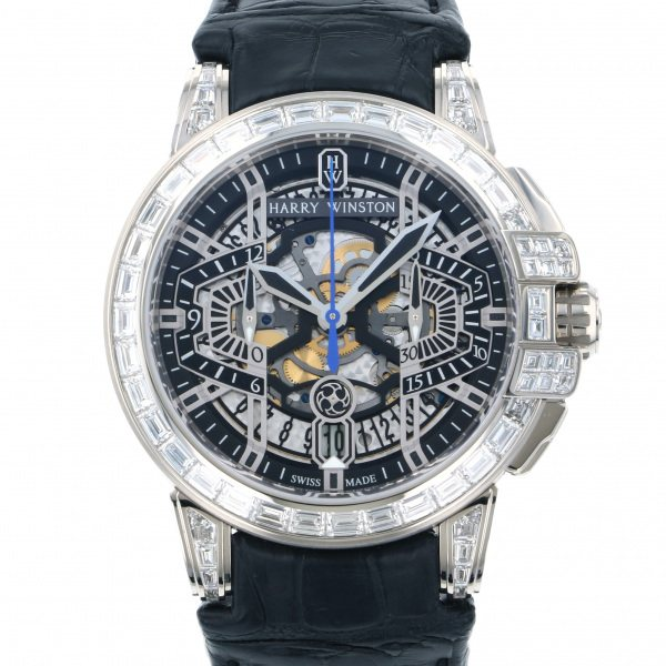 ハリー・ウィンストン HARRY WINSTON オーシャン クロノグラフ オートマティック OCEACH44WW001 ブラック/シルバー文字盤 メンズ 腕時計 【中古】