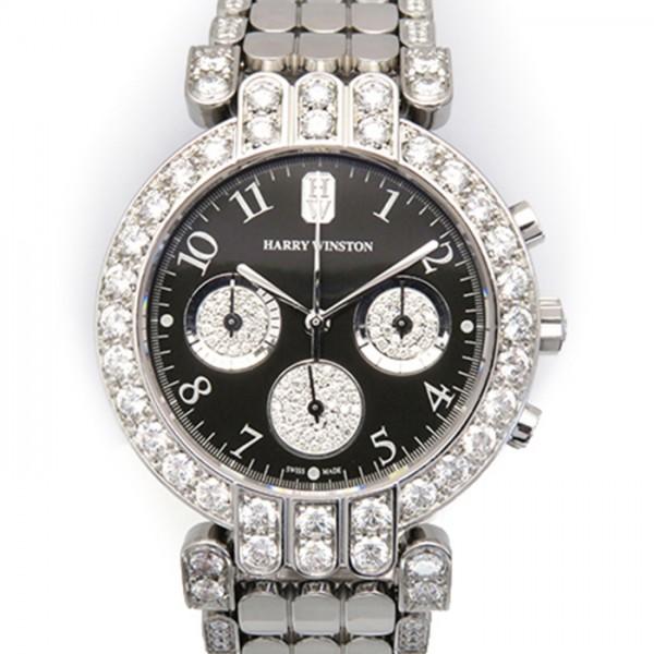 ハリー・ウィンストン HARRY WINSTON プルミエール ダイヤモンド 200/MCQ37W ブラック文字盤 メンズ 腕時計 【中古】