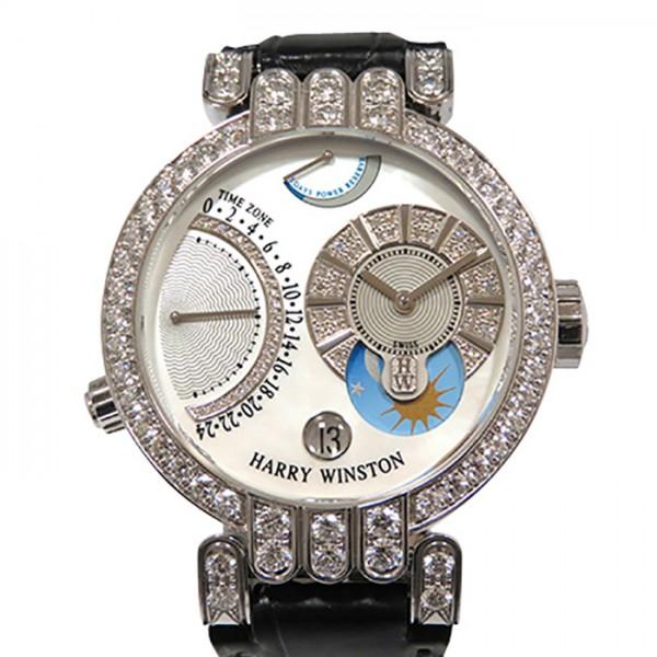 ハリー・ウィンストン HARRY WINSTON プルミエール エキセンター タイムゾーン 200/MMTZ39W ホワイト文字盤 メンズ 腕時計 【中古】