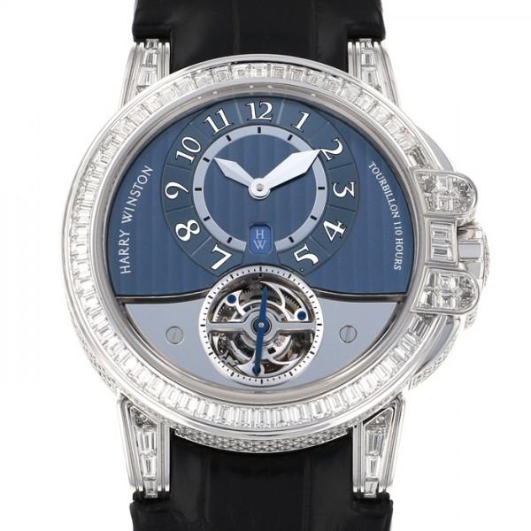 世界限定10本 【中古】 ブルー文字盤 トゥールビヨン HARRY ハリー・ウィンストン 400MAT44W オーシャン 腕時計 メンズ WINSTON