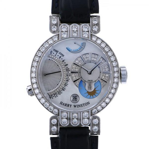 【全品 ポイント10倍 4/9~4/16】ハリー・ウィンストン HARRY WINSTON プルミエール エキセンター タイムゾーン 200/MMTZ39W ホワイト文字盤 メンズ 腕時計 【中古】
