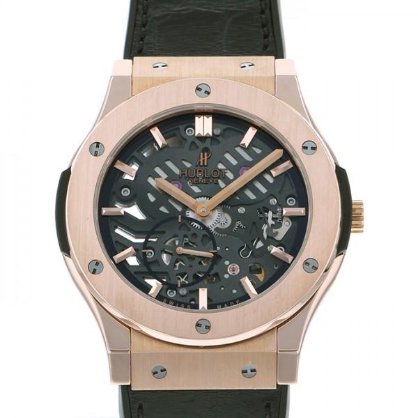 ウブロ HUBLOT クラシックフュージョン クラシコ ウルトラシン スケルトン 515.OX.0180.LR ブラック文字盤 メンズ 腕時計 【中古】
