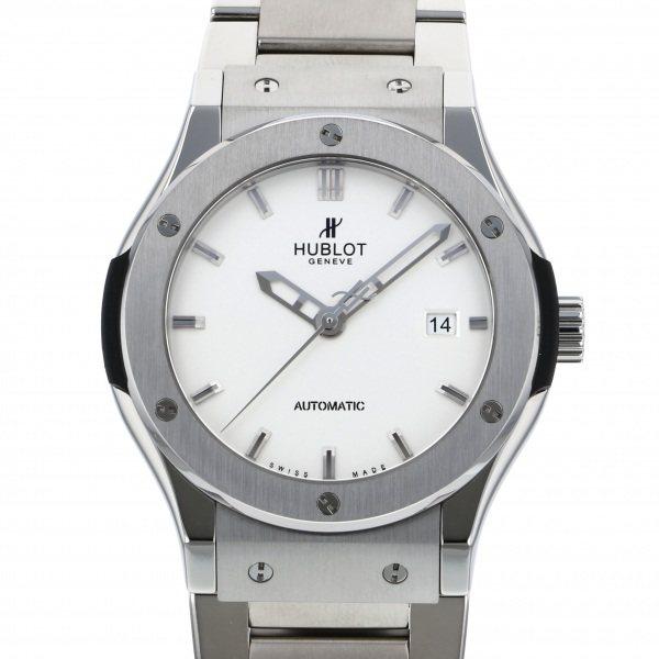 【全品 ポイント10倍 4/9~4/16】ウブロ HUBLOT クラシックフュージョン チタニウム オパーリン 542.NX.2610.NX シルバー文字盤 メンズ 腕時計 【中古】