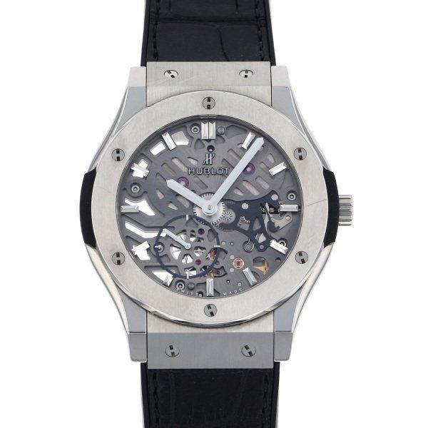素晴らしい価格 ウブロ HUBLOT クラシックフュージョン クラシコ ウルトラシン スケルトン チタニウム 545.NX.0170.LR シルバー文字盤  腕時計 メンズ, 清和shop 44250ea4
