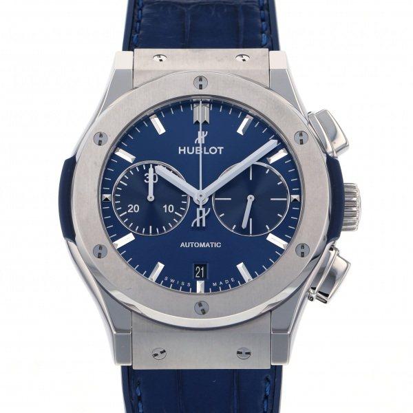 ウブロ HUBLOT クラシックフュージョン チタニウム クロノグラフ ブルー 521.NX.7170.LR ブルー文字盤 メンズ 腕時計 【中古】