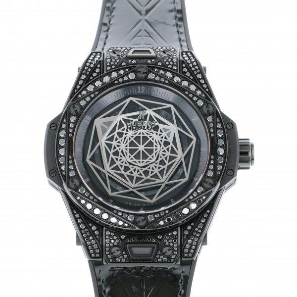 ウブロ HUBLOT ビッグバン ワンクリック サンブルー オールブラック パヴェ 465.CS.1114.VR.1700.MXM18 ブラック文字盤 レディース 腕時計 【新品】