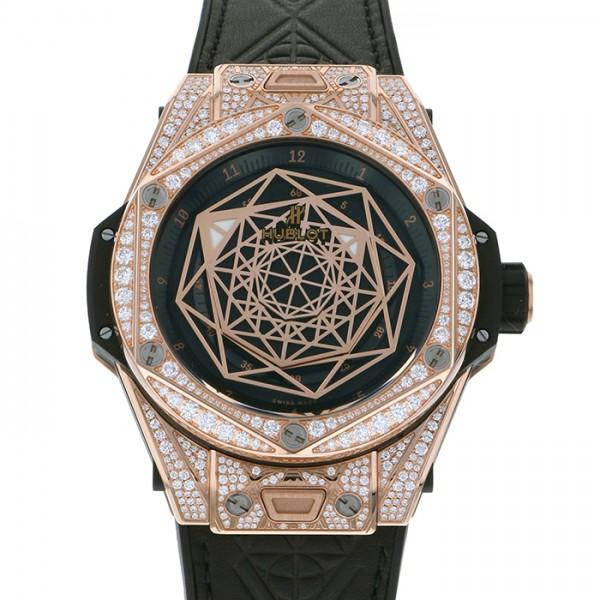 ウブロ HUBLOT ビッグバン ウニコ サンブルー キングゴールド パヴェ 415.OX.1118.VR.1704.MXM17 ブラック文字盤 メンズ 腕時計 【新品】