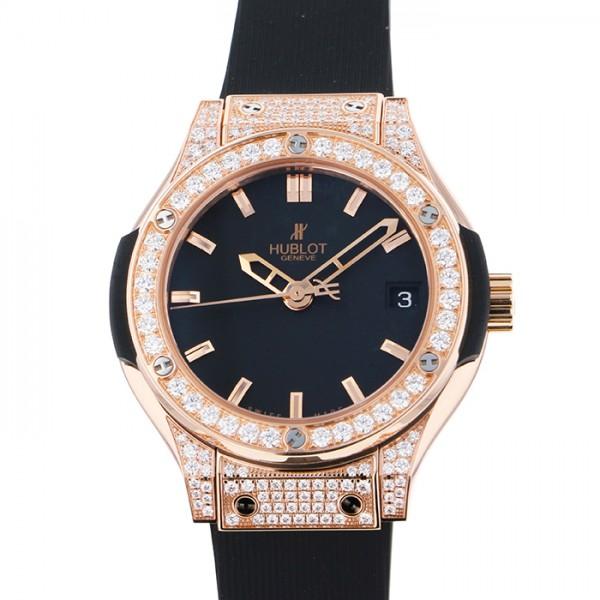 ウブロ HUBLOT クラシックフュージョン キングゴールド パヴェ 581.OX.1180.RX.1704 ブラック文字盤 レディース 腕時計 【新品】