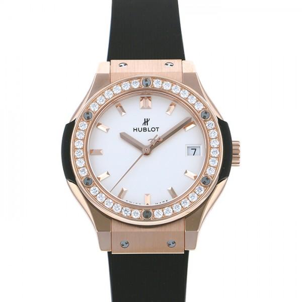【期間限定ポイント5倍 5/5~5/31】 ウブロ HUBLOT クラシックフュージョン キングゴールド ダイヤモンド 581.OX.2611.RX.1104 シルバー文字盤 レディース 腕時計 【新品】