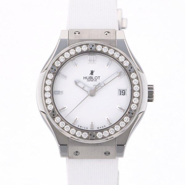 ウブロ HUBLOT クラシックフュージョン チタニウム ホワイトダイヤモンド 581.NX.2010.RX.1104 ホワイト文字盤 レディース 腕時計 【中古】