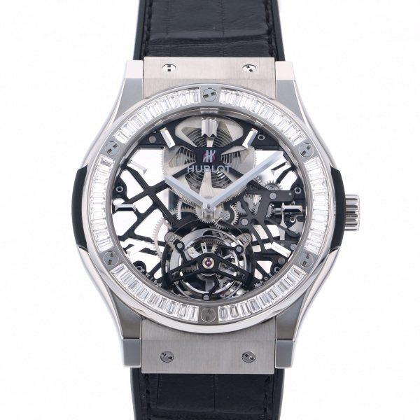 ウブロ HUBLOT クラシックフュージョン トゥールビヨン ベゼルバケットダイヤモンド 505.NX.0170.LR.1904 ブラック/シルバー文字盤 メンズ 腕時計 【新品】