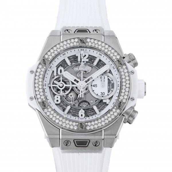 ウブロ HUBLOT ビッグバン ウニコ チタニウム ホワイト ダイヤモンド 441.NE.2010.RW.1104 グレー文字盤 メンズ 腕時計 【中古】
