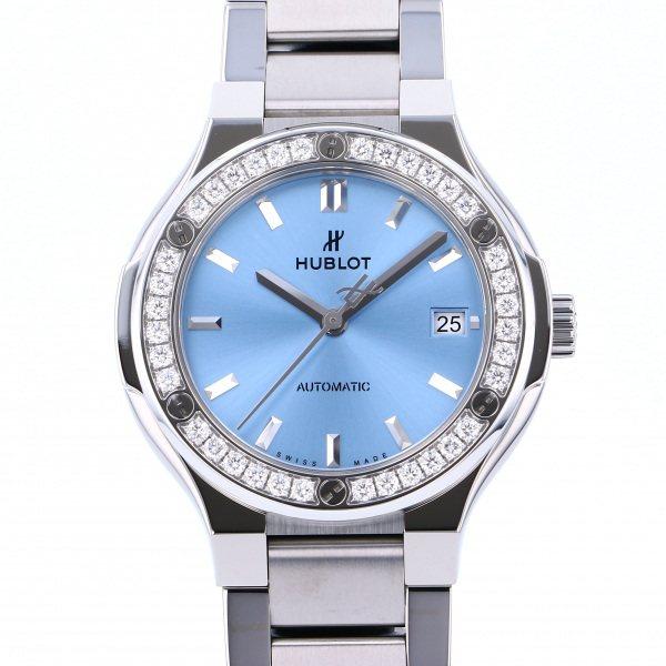 ウブロ HUBLOT クラシックフュージョン チタニウム ライトブルー ダイヤモンド ブレスレット 568.NX.891L.NX.1204 ブルー文字盤 レディース 腕時計 【新品】