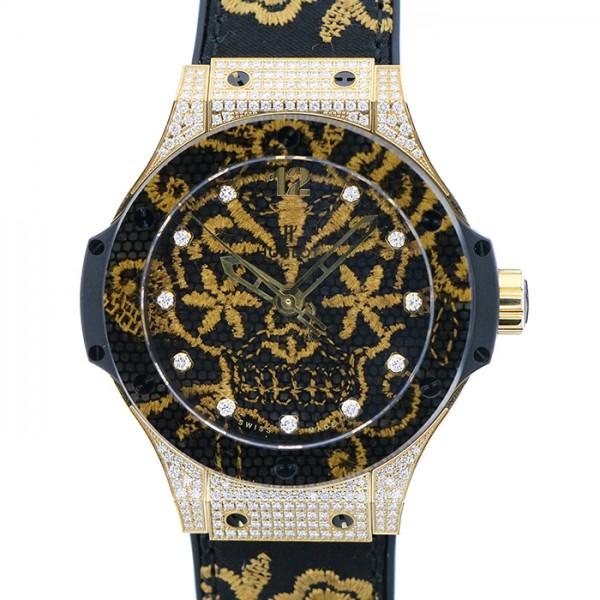 ウブロ HUBLOT ビッグバン ブロイダリーシュガースカル ゴールド ダイヤモンド 世界限定200本 343.VX.6580.NR.0804 ブラック文字盤 メンズ 腕時計 【新品】