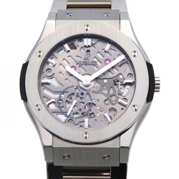 ウブロ HUBLOT クラシックフュージョン クラシコ ウルトラシン スケルトン チタニウム 545.NX.0170.NX スケルトン文字盤 メンズ 腕時計 【新品】