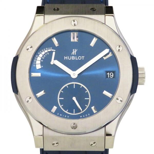 ウブロ HUBLOT クラシックフュージョン パワーリザーブ 8デイズ チタニウム 516.NX.7170.LR ブルー文字盤 メンズ 腕時計 【新品】