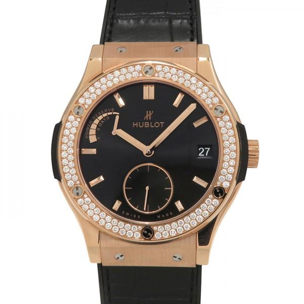 ウブロ HUBLOT クラシックフュージョン パワーリザーブ キングゴールド ダイヤモンド 516.OX.1480.LR.1104 ブラック文字盤 メンズ 腕時計 【新品】