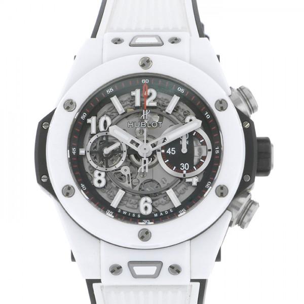 ウブロ HUBLOT ビッグバン ウニコ ホワイトセラミック 411.HX.1170.RX スケルトン文字盤 メンズ 腕時計 【中古】