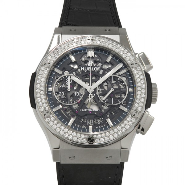 ウブロ HUBLOT クラシックフュージョン アエロクロノグラフ チタニウム ベゼルダイヤ 525.NX.0170.LR.1104 グレー文字盤 メンズ 腕時計 【新品】