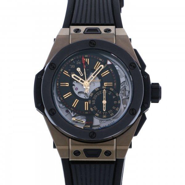 ウブロ HUBLOT ビッグバン アラームリピーター マジックゴールド 世界限定100本 403.MC.0138.RX ブラック文字盤 メンズ 腕時計 【中古】