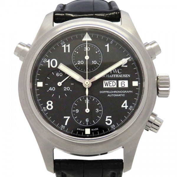 IWC IWC パイロットウォッチ ドッペルクロノ IW371303 ブラック文字盤 メンズ 腕時計 【中古】
