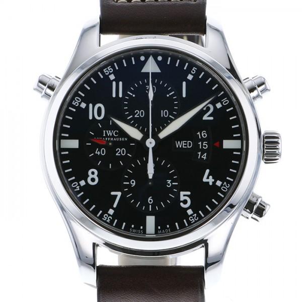 IWC IWC パイロットウォッチ ダブル クロノグラフ IW377801 ブラック文字盤 メンズ 腕時計 【中古】