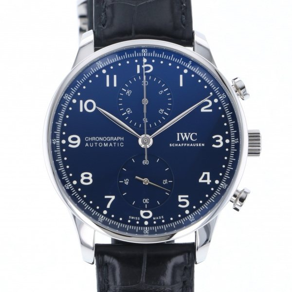IWC IWC ポルトギーゼ クロノグラフ 150イヤーズ IW371601 ブルー文字盤 メンズ 腕時計 【中古】