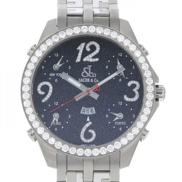 ジェイコブ JACOB&CO ファイブタイムゾーン オートマティック 世界限定72本 JC-82BD ブラック文字盤 メンズ 腕時計 【新品】