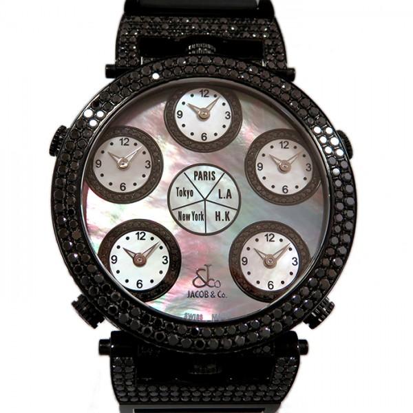 ジェイコブ JACOB&CO シックスタイムゾーン JC-LG3DCBD ブラック文字盤 メンズ 腕時計 【新古品】