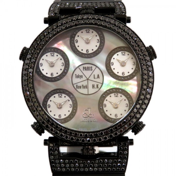 ジェイコブ JACOB&CO シックスタイムゾーン ケースブラックダイヤ - ブラック文字盤 メンズ 腕時計 【新古品】