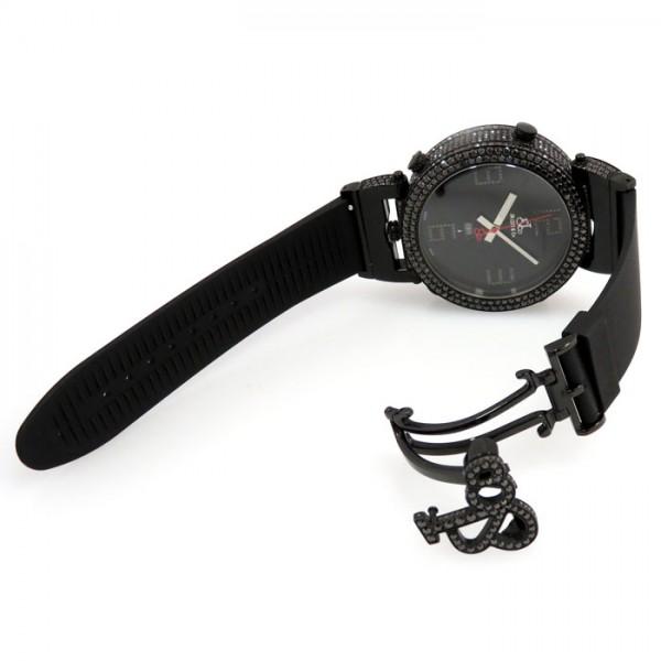 【全品 ポイント10倍 16日1:59まで 要エントリー】ジェイコブ JACOB&CO シックスタイムゾーン ケースブラックダイヤ - ブラック文字盤 メンズ 腕時計 【新品】