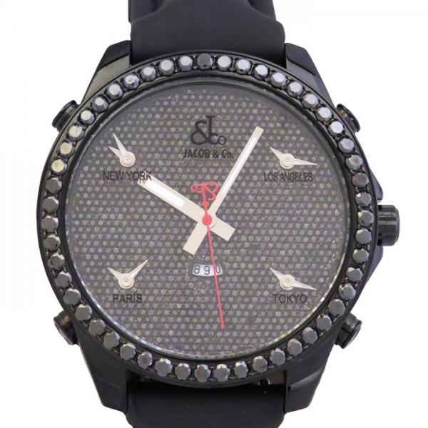 ジェイコブ JACOB&CO ファイブタイムゾーン ベゼルブラックダイヤ JC-130DC 全面ダイヤ文字盤 メンズ 腕時計 【新古品】
