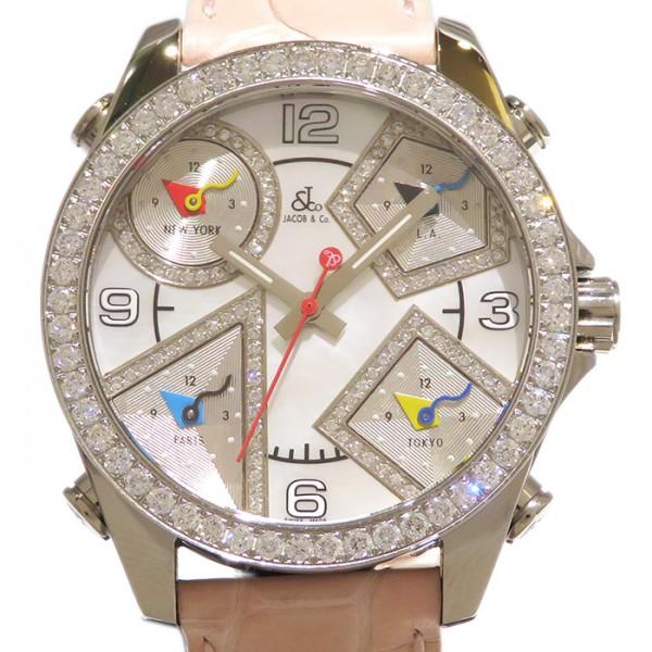 【期間限定ポイント5倍 5/5~5/31】 ジェイコブ JACOB&CO ファイブタイムゾーン ベゼルダイヤ JC-M14DAD ホワイト文字盤 レディース 腕時計 【未使用】
