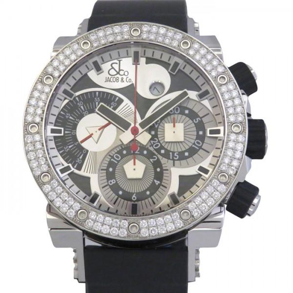 ジェイコブ JACOB&CO エピック エピックII ベゼルダイヤ JC-E1D シルバー/ブラック文字盤 メンズ 腕時計 【新品】