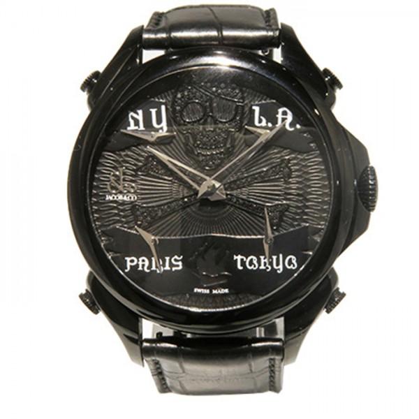 ジェイコブ JACOB&CO ファイブタイムゾーン パレーシャル JC-BPLPRBKD ブラック文字盤 メンズ 腕時計 【新品】
