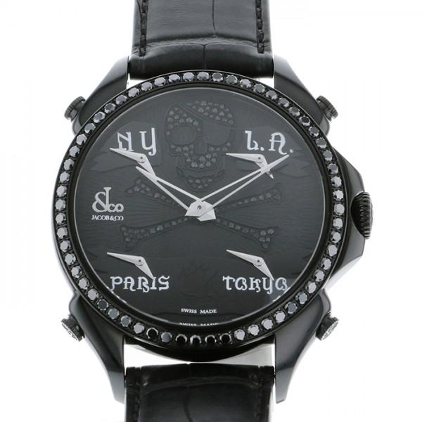 ジェイコブ JACOB&CO ファイブタイムゾーン レーシャルファイブタイムゾーン JC-BPLPRBKD-BKD ブラック文字盤 メンズ 腕時計 【新品】