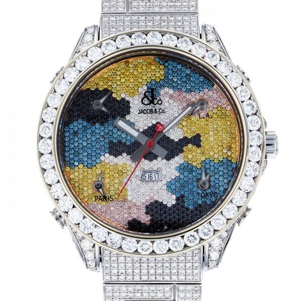 ジェイコブ JACOB&CO ファイブタイムゾーン ワールドマップ ケース・ブレスダイヤ - 全面ダイヤ文字盤 メンズ 腕時計 【新品】