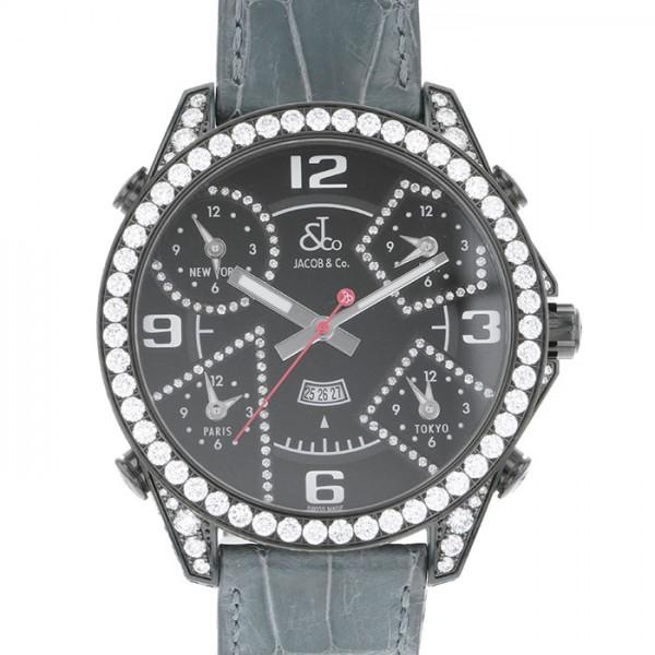 ジェイコブ JACOB&CO ファイブタイムゾーン JC-2BCDADC ブラック文字盤 メンズ 腕時計 【新品】