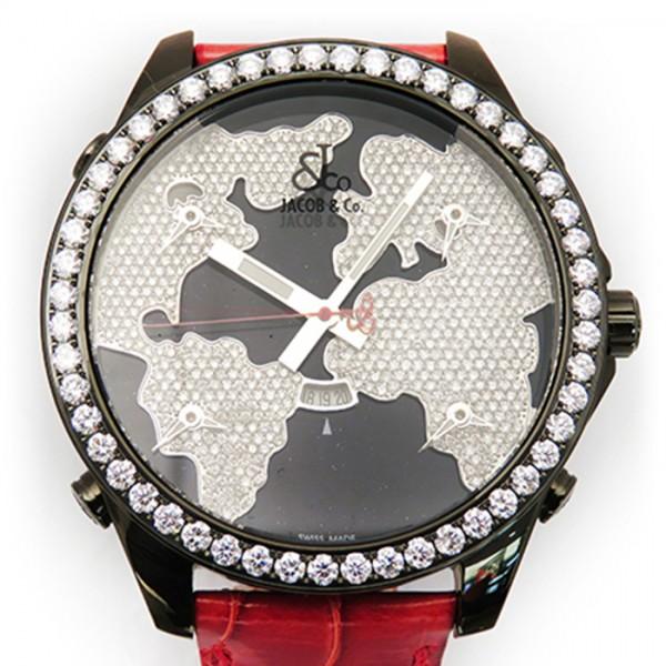 ジェイコブ JACOB&CO ファイブタイムゾーン ベゼルダイヤ JC-47STBDD ブラック文字盤 メンズ 腕時計 【新品】
