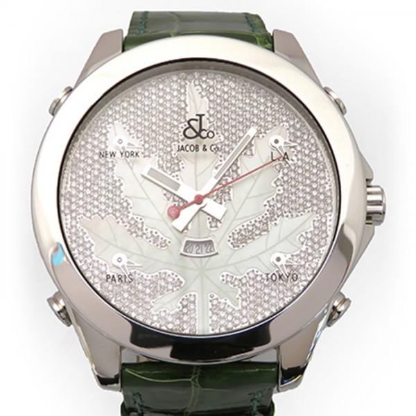 ジェイコブ JACOB&CO ファイブタイムゾーン JC-LEAFM ホワイト文字盤 メンズ 腕時計 【新品】