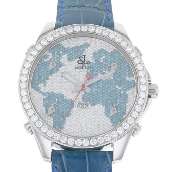 ジェイコブ JACOB&CO ファイブタイムゾーン JC-47BD シルバー/ブルー文字盤 メンズ 腕時計 【新品】