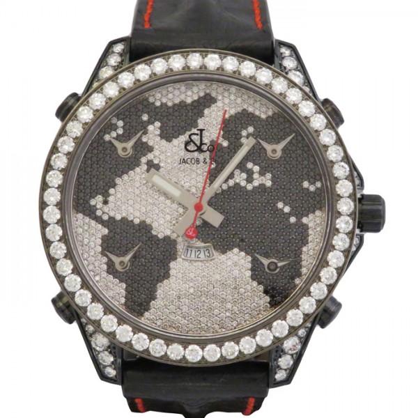 【期間限定ポイント5倍 5/5~5/31】 ジェイコブ JACOB&CO ファイブタイムゾーン ケースダイヤ JC-47BKBDC 全面ダイヤ文字盤 メンズ 腕時計 【新品】