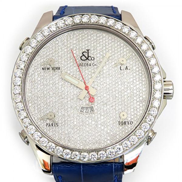 ジェイコブ JACOB&CO ファイブタイムゾーン ベゼルダイヤ JC-53D 全面ダイヤ文字盤 メンズ 腕時計 【新品】