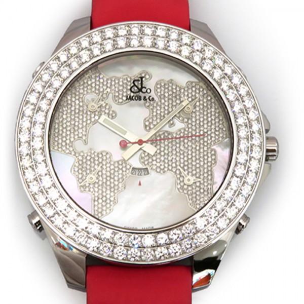 ジェイコブ JACOB&CO ファイブタイムゾーン ジャンボ ベゼルダイヤ JC-47JDMD ホワイト文字盤 メンズ 腕時計 【新品】